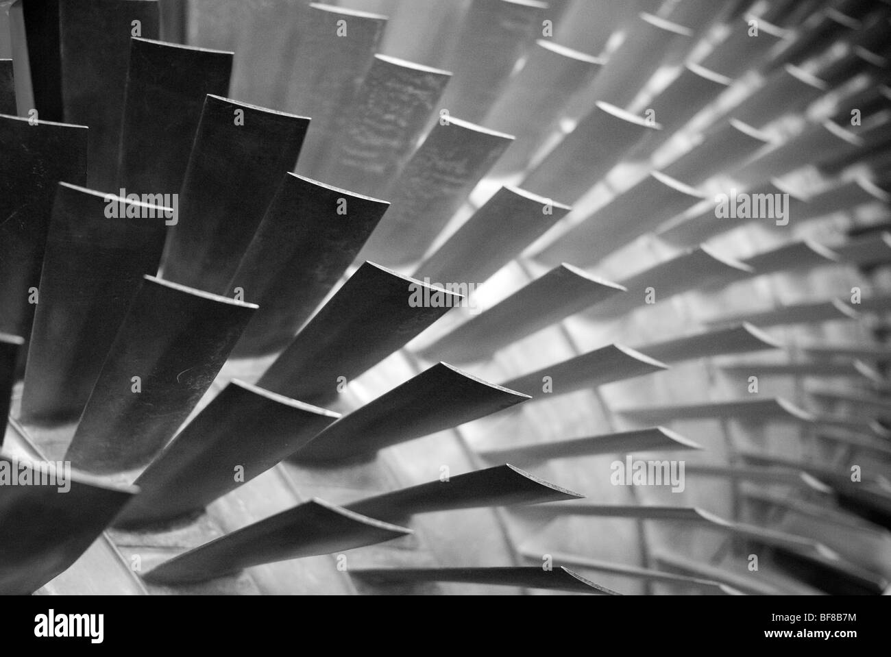 close-up of turbine blades in a high bypass ratio jet engine - Stock Image