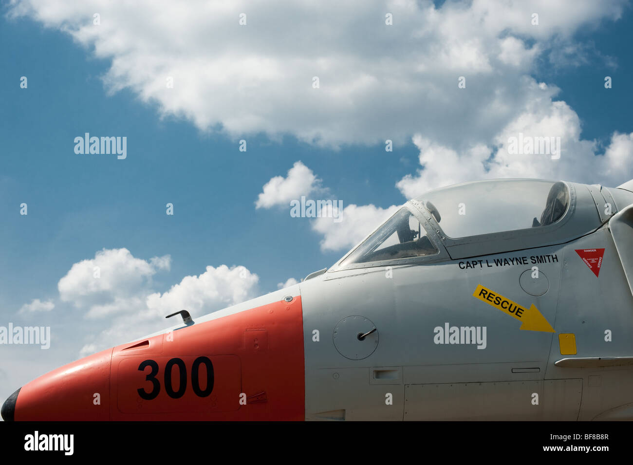 Air plane with blue sky and clouds - Stock Image