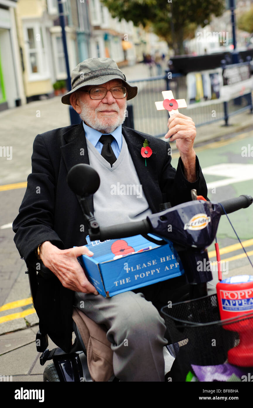 Annual poppy appeal day: Disabled elderly man in wheelchair selling remembrance poppies in the street Wales UK - Stock Image