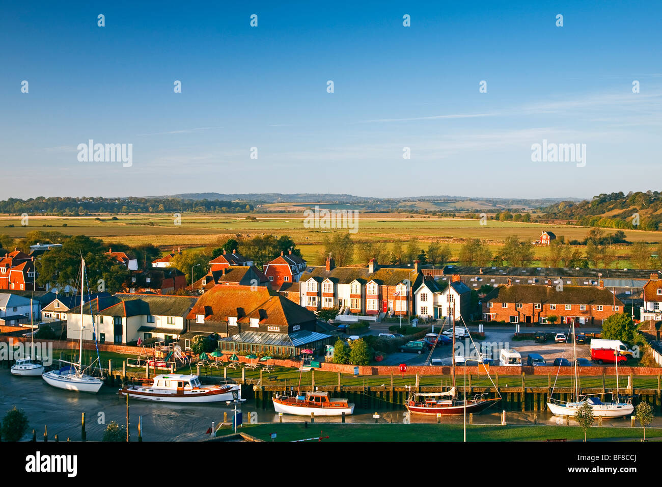 An evening view of Strand Quay and the Sussex countryside beyond from Rye, East Sussex, England, UK 2009 - Stock Image
