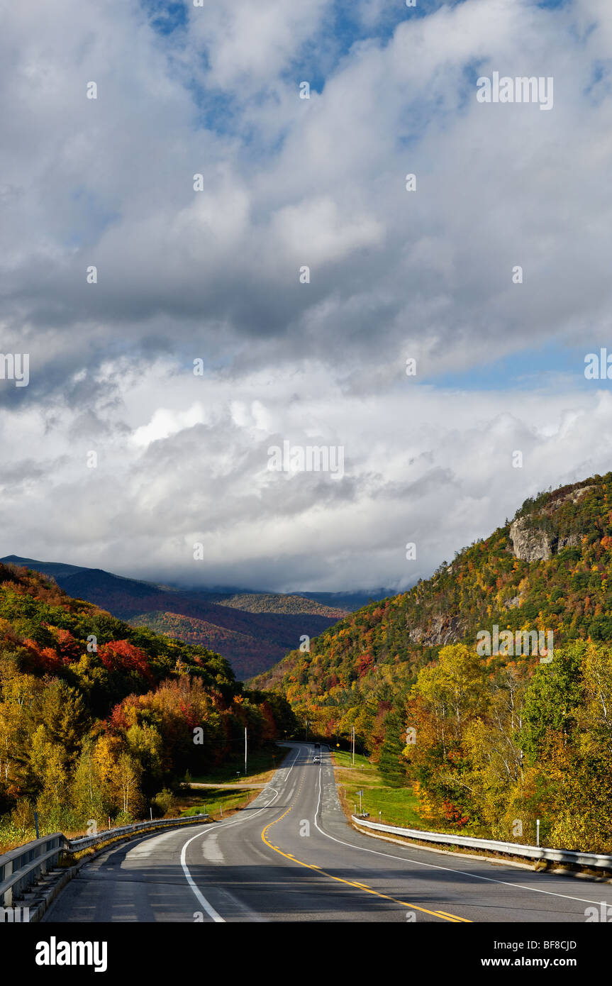 Highway 302 Winding through Crawford Notch in White Mountains National Forest in New Hampshire Stock Photo