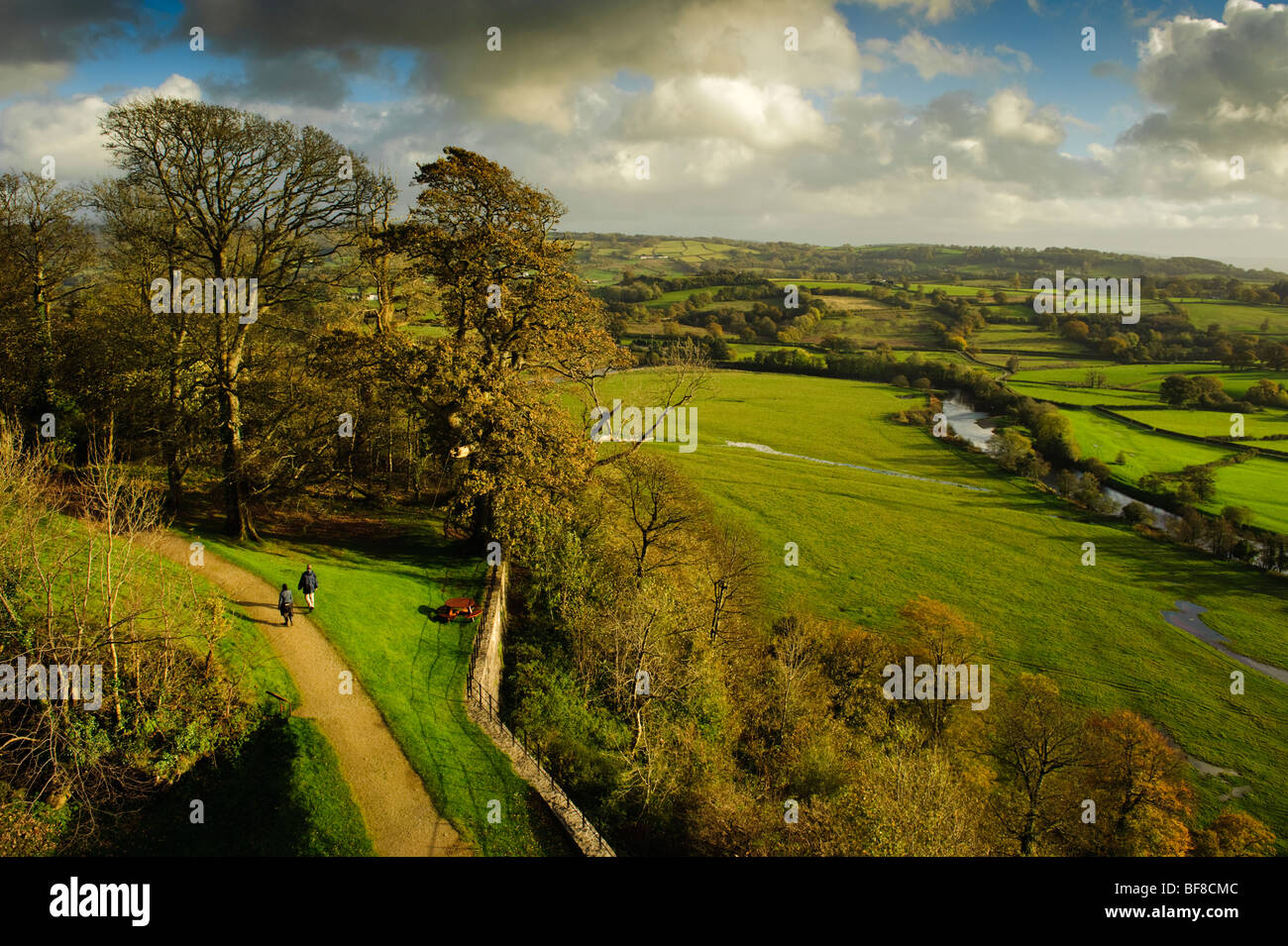 The Tywi Valley and Dinefwr Park from the castle, National Trust, Llandeilo, Carmarthenshire south west wales UK - Stock Image