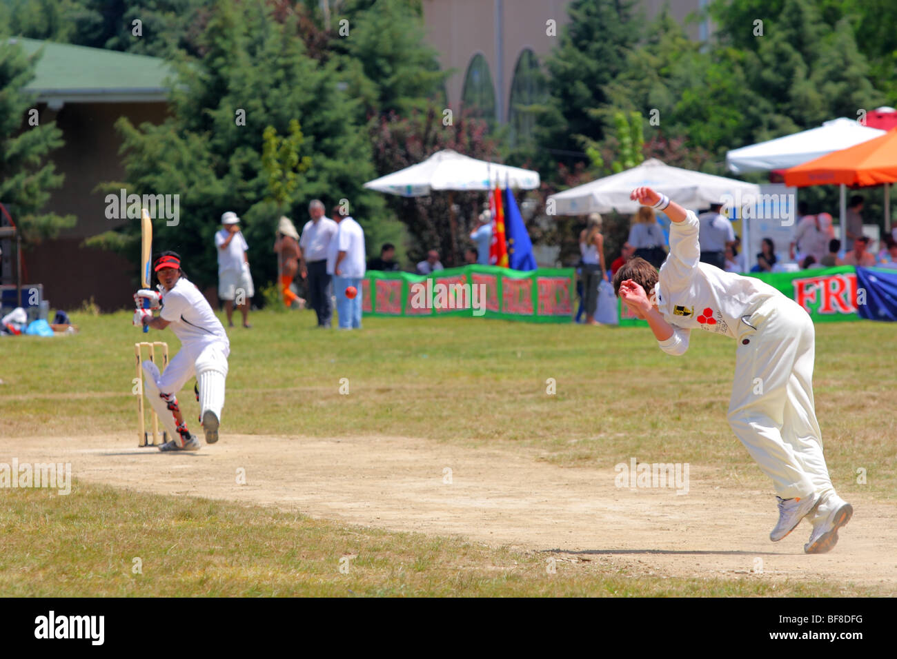 first cricket game in Skopje, Macedonia. Summer 2009 - Stock Image