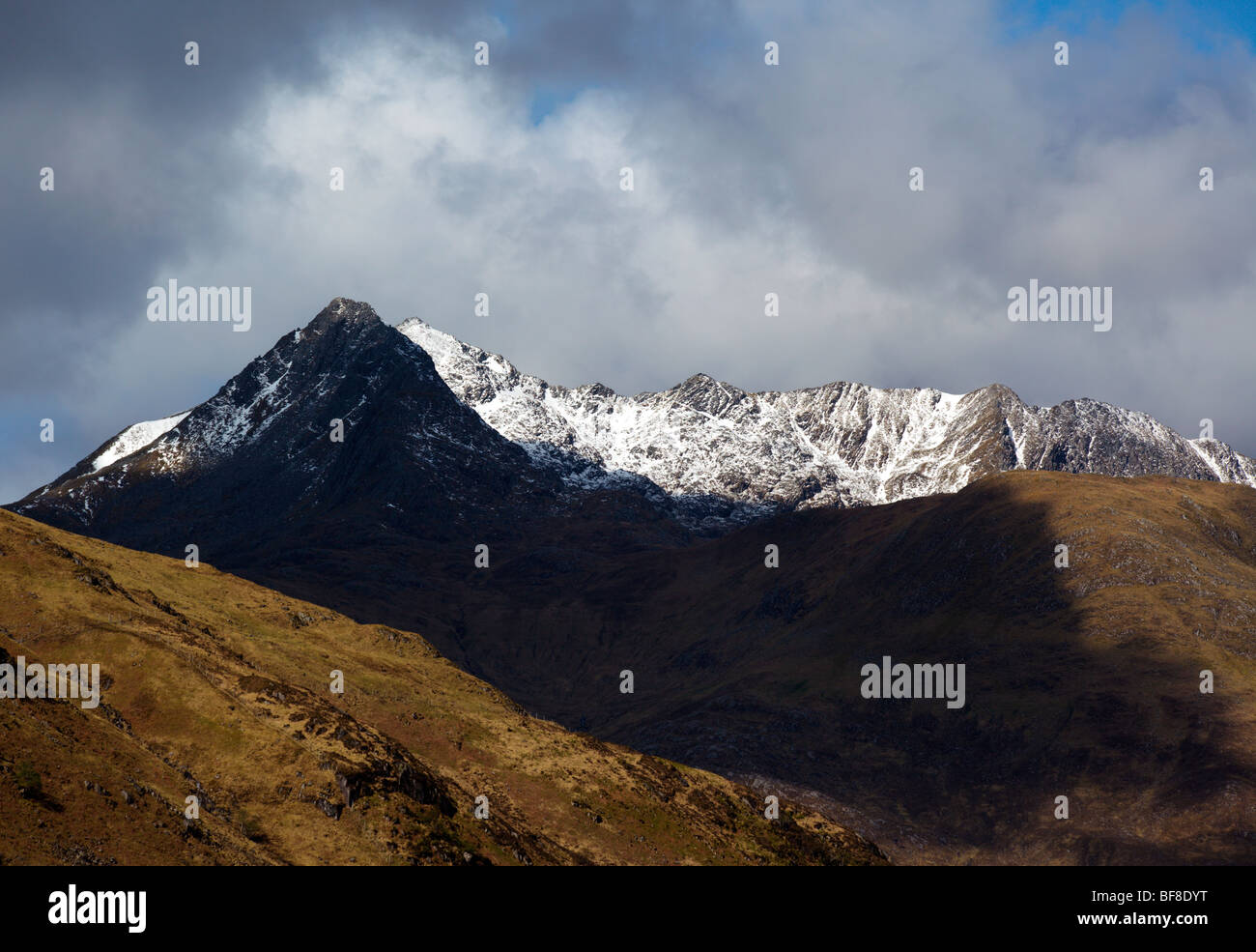 Scottish mountains in spring snow in May - Sgurr na Forcan and the Saddle Wester Ross Scotland UK - Stock Image