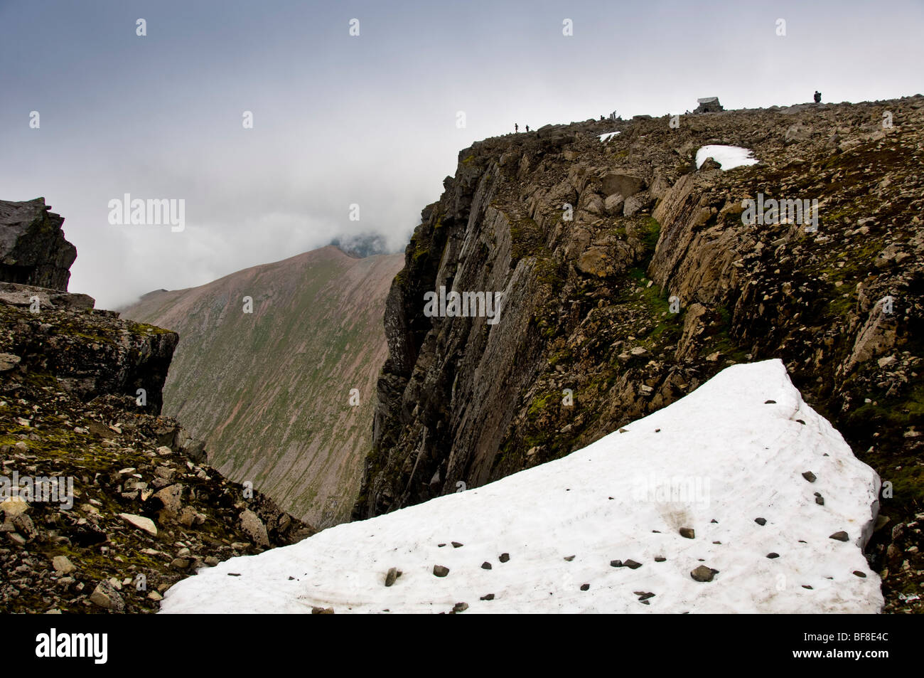view of north face and summit of Ben Nevis from snow covered plateau at head of Observatory Gully. - Stock Image