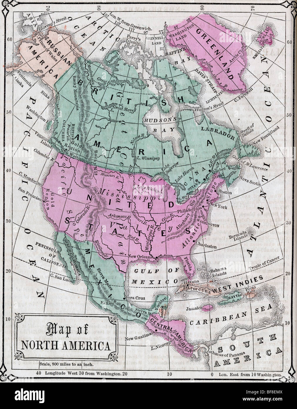 Original old map of Canada and Northern United States from 1865 ...