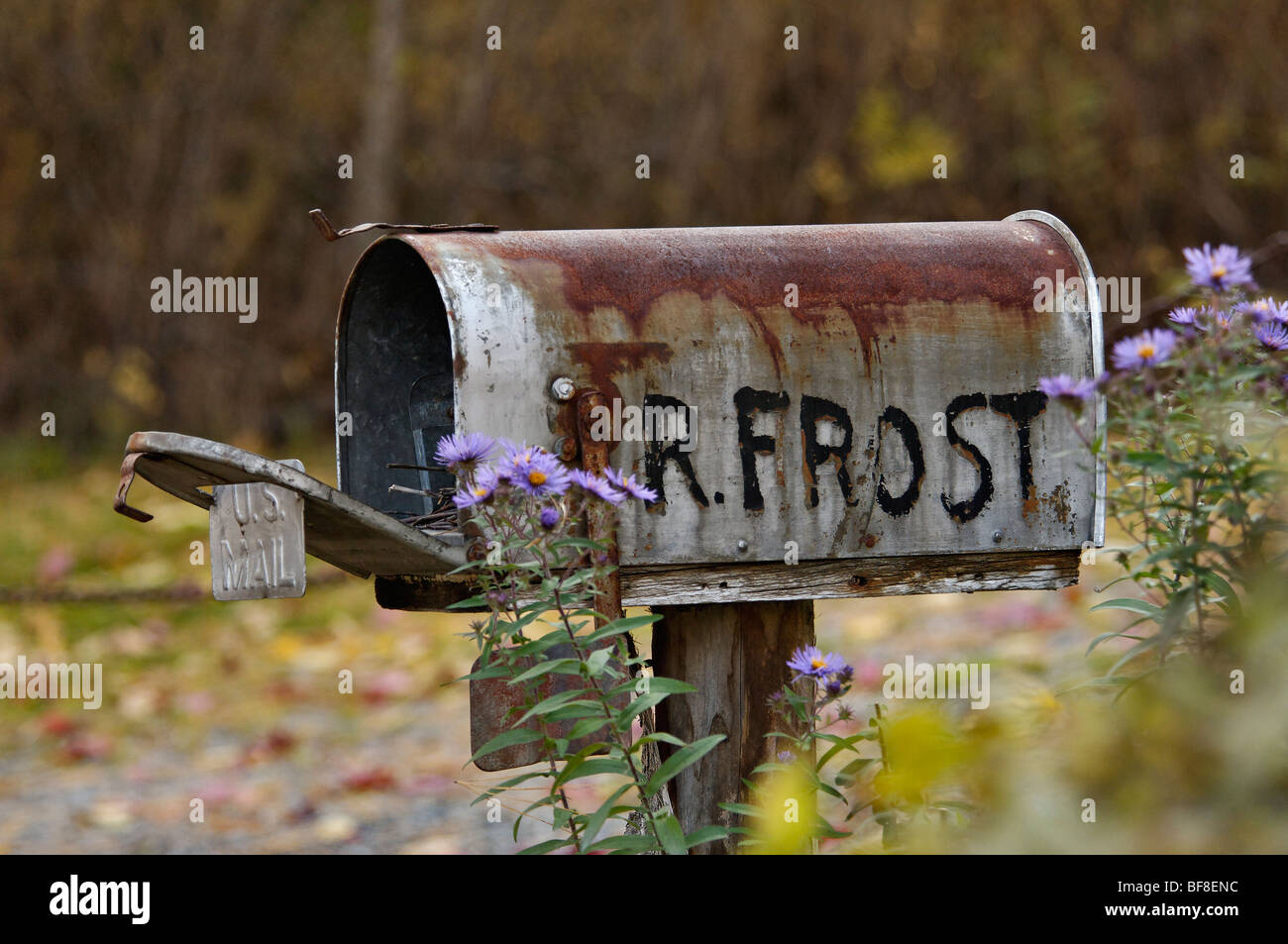 Mailbox at Robert Frost's Home near Franconia, New Hampshire - Stock Image