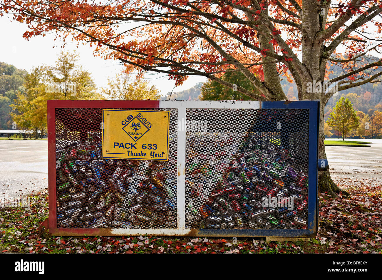 Soda Cans in Aluminum Can Recycling Bin at Paintsville Lake in Johnson County, Kentucky - Stock Image
