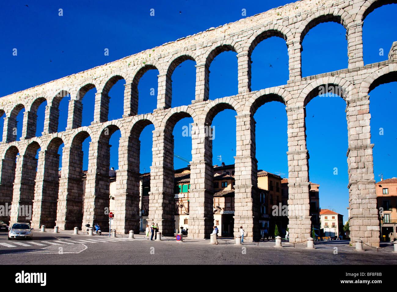 Roman aqueduct, Segovia, Castile and Leon, Spain - Stock Image