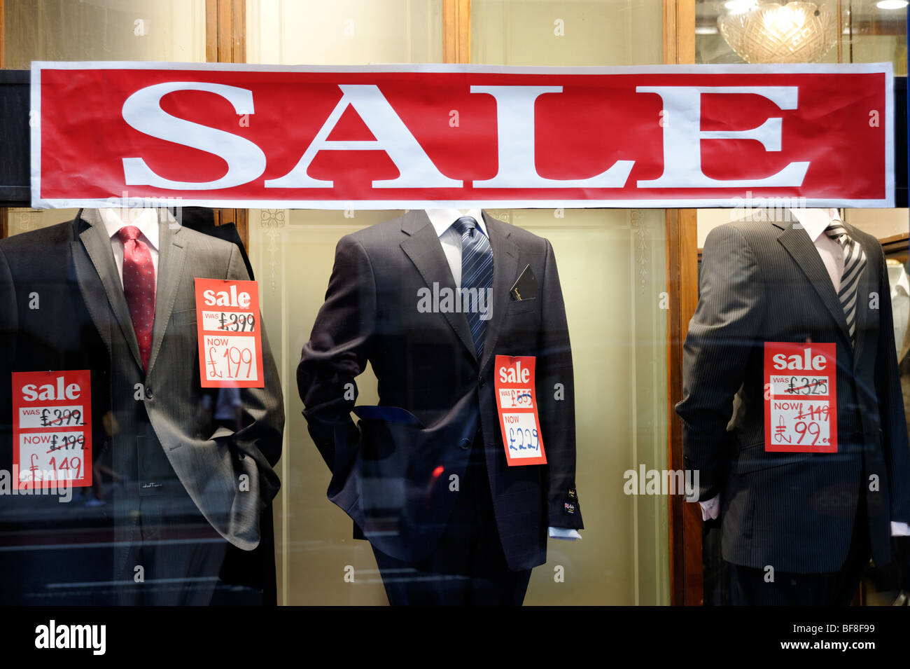 Discount sales on mens suits. London. UK 2009. - Stock Image