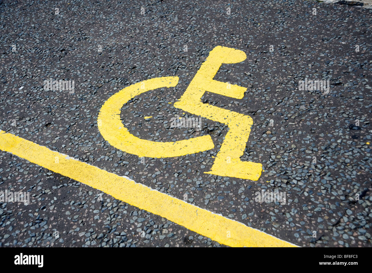 Disabled parking place sign. London. UK 2009. - Stock Image