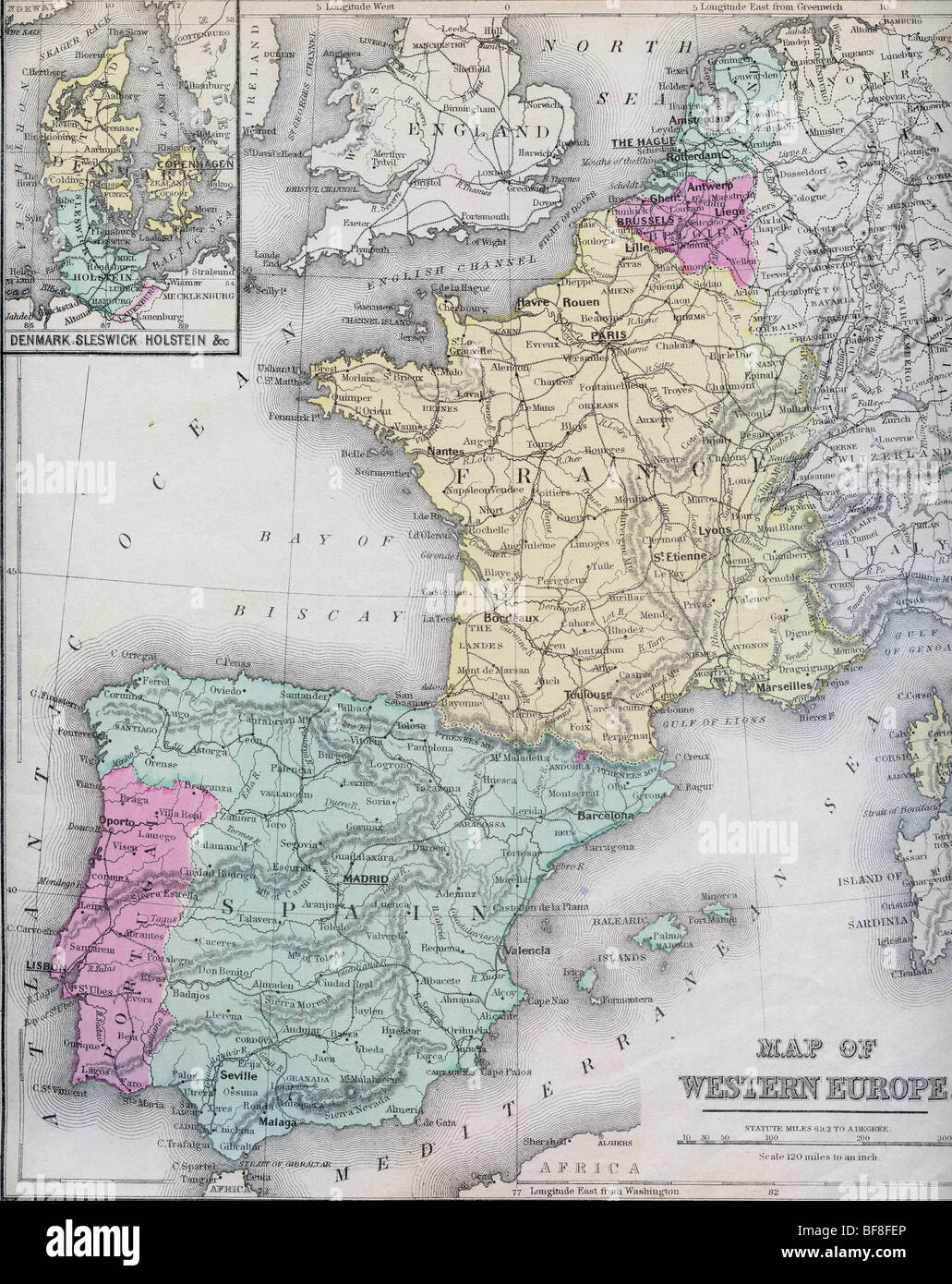 original old map of western europe from 1879 geography textbook