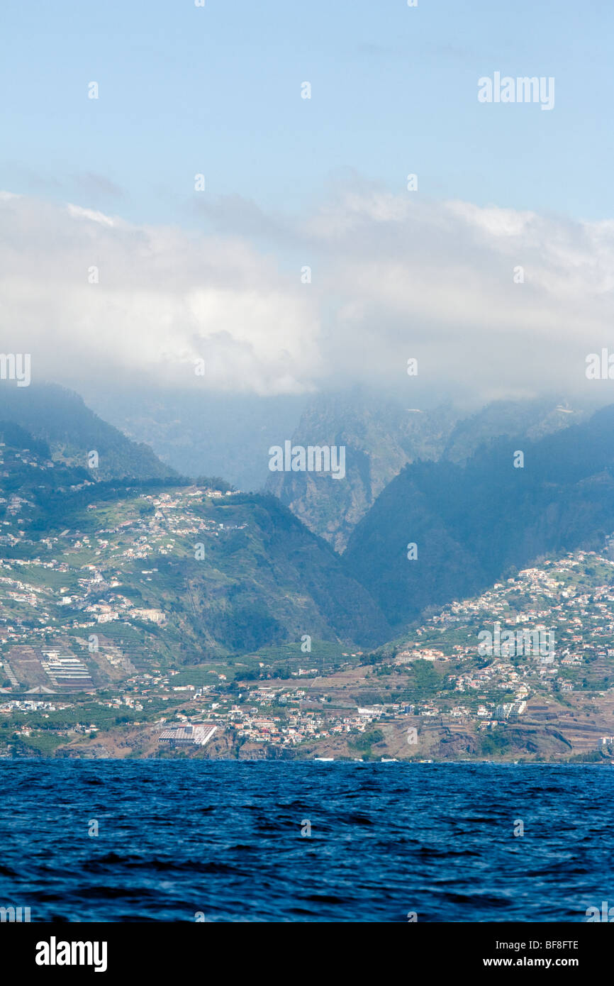 A view of the island of Madeira from the ocean - Stock Image