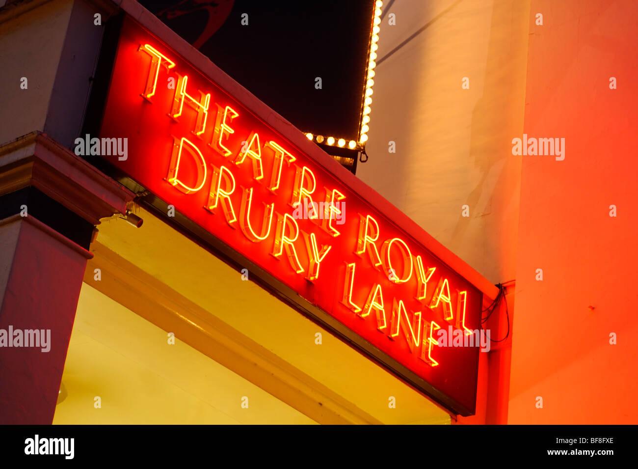 Neon Sign. Theatre Royal Drury Lane. London. UK 2009. - Stock Image