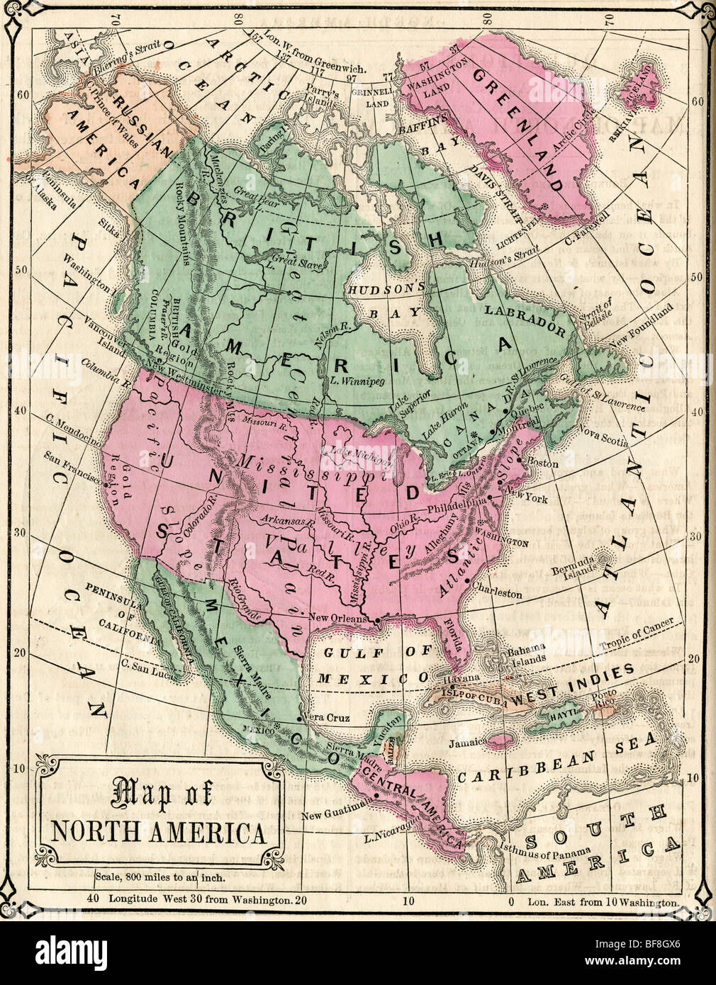 Old North America Map.Original Old Map Of North America From 1865 Geography Textbook Stock