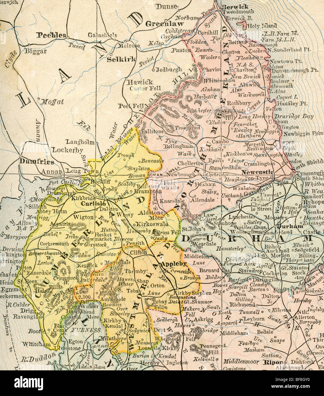 Geography Map Of England.Original Old Map Of Northern England From 1884 Geography Textbook