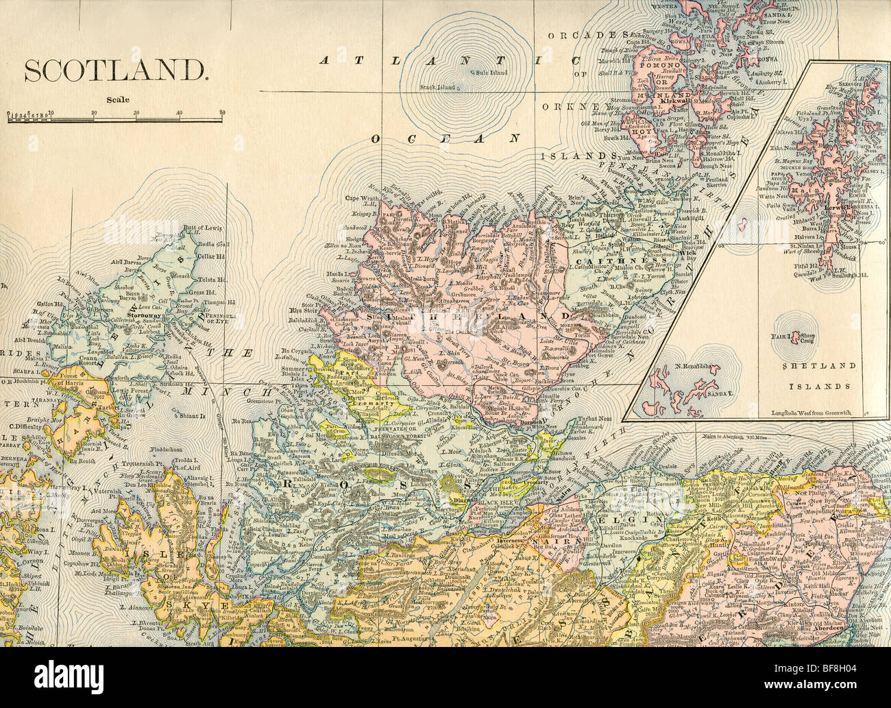 Original old map of northern Scotland from 1884 geography