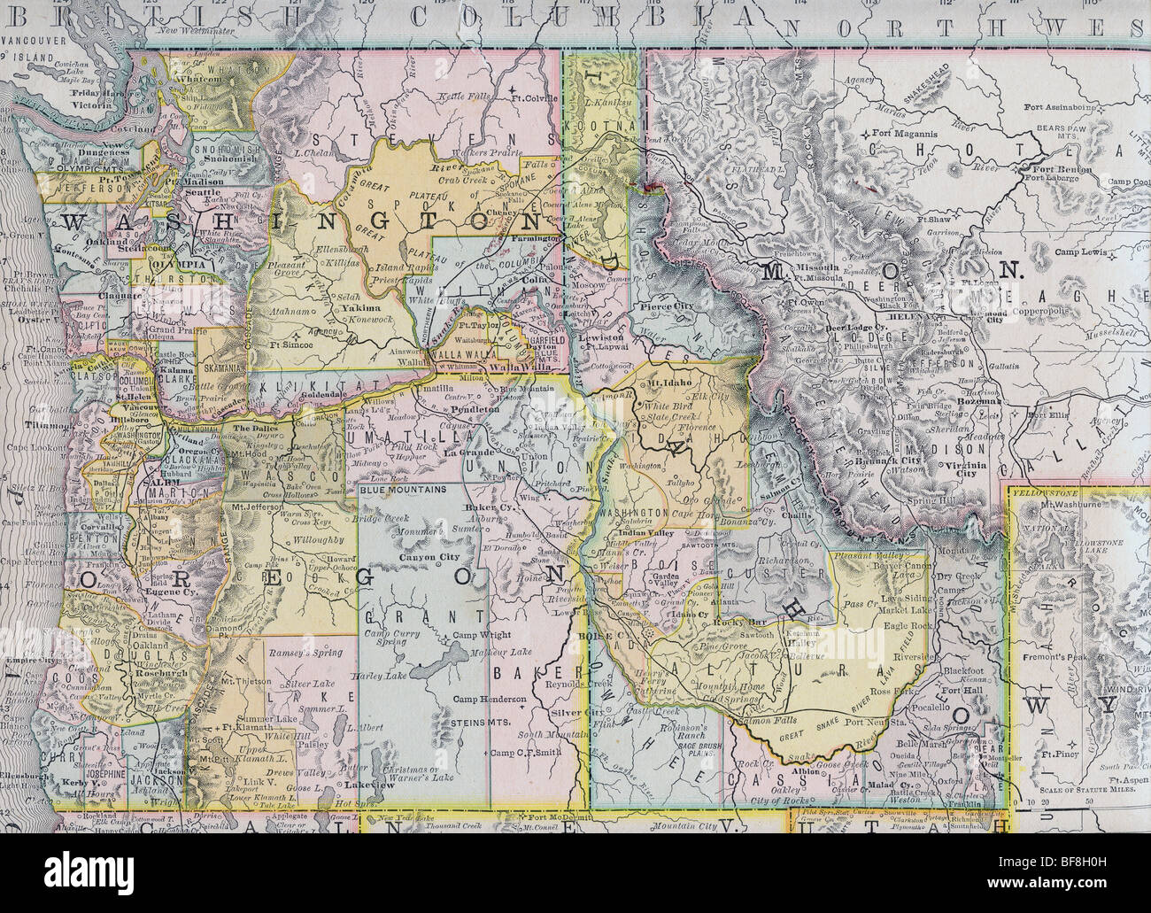 Original old map of northwest United States from 1884 geography ...
