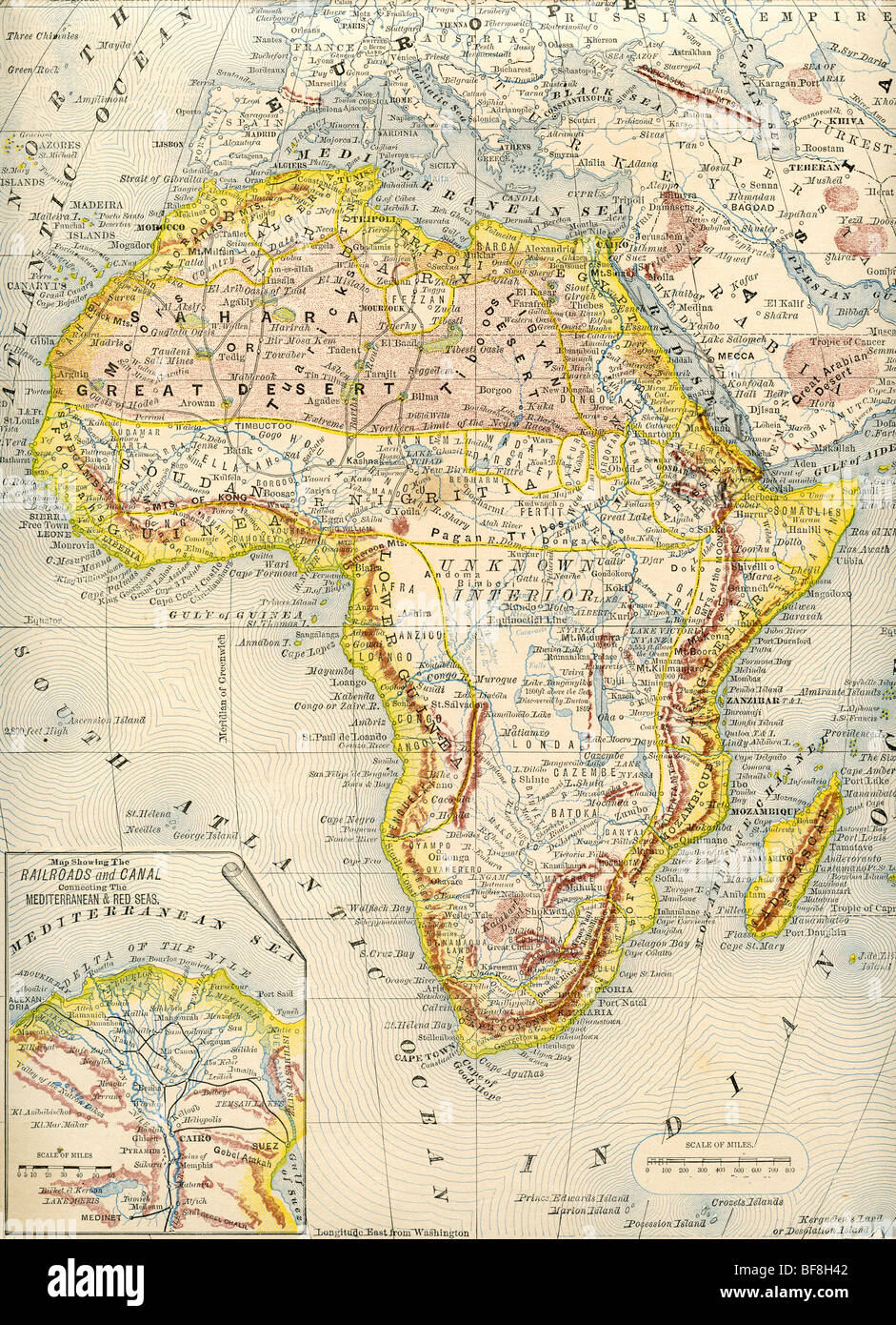 Original Old Map Of Africa From 1884 Geography Textbook Stock Photo