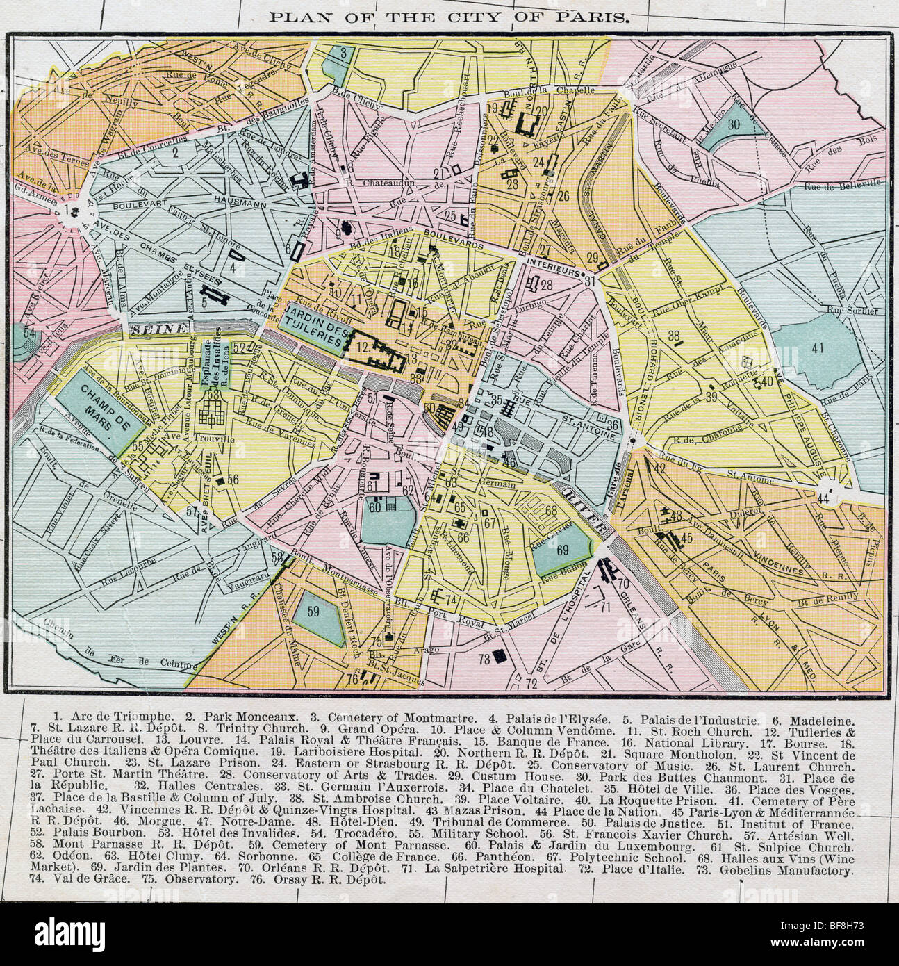 Original old map of paris from 1884 geography textbook stock photo original old map of paris from 1884 geography textbook gumiabroncs Gallery