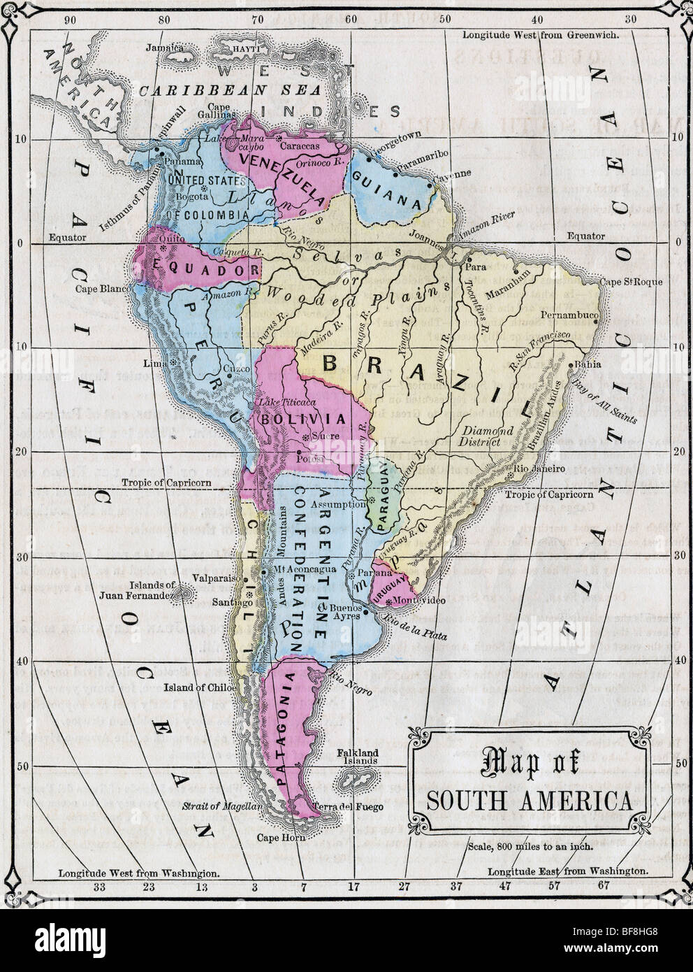 Original old map of South America from 1865 geography ...