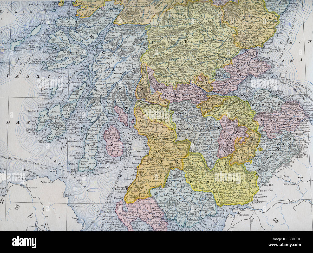 Original old map of Scotland from 1884 geography textbook Stock