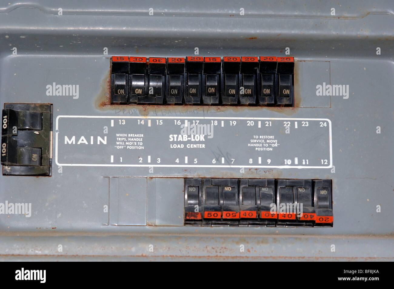 Main circuit panel using Stab-Lock breakers in a residential circuit ...