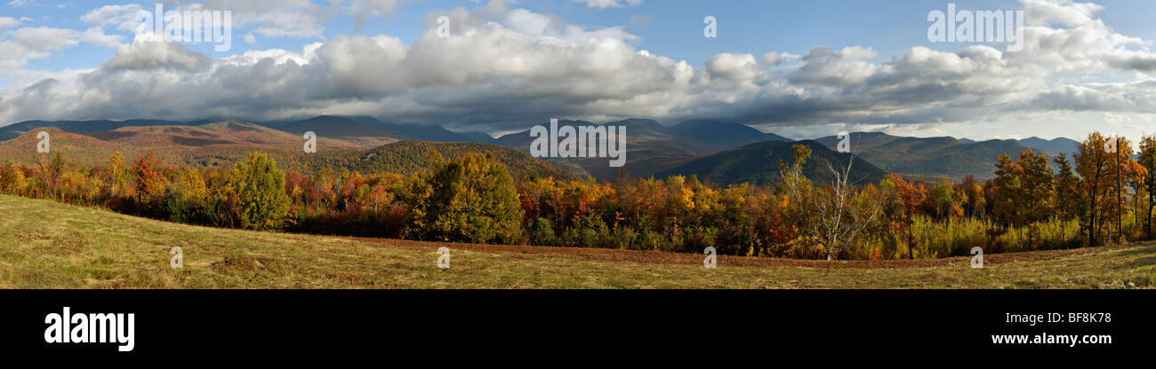 Panorama of Mount Washington and other Mountains in the White Mountains National Forest in New Hampshire Stock Photo