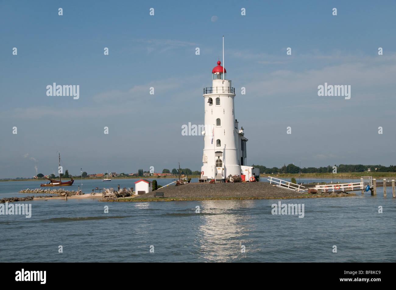 Het Paard van Marken Horse of Marken  Lighthouse IJsselmeer  Volendam Netherlands Holland - Stock Image