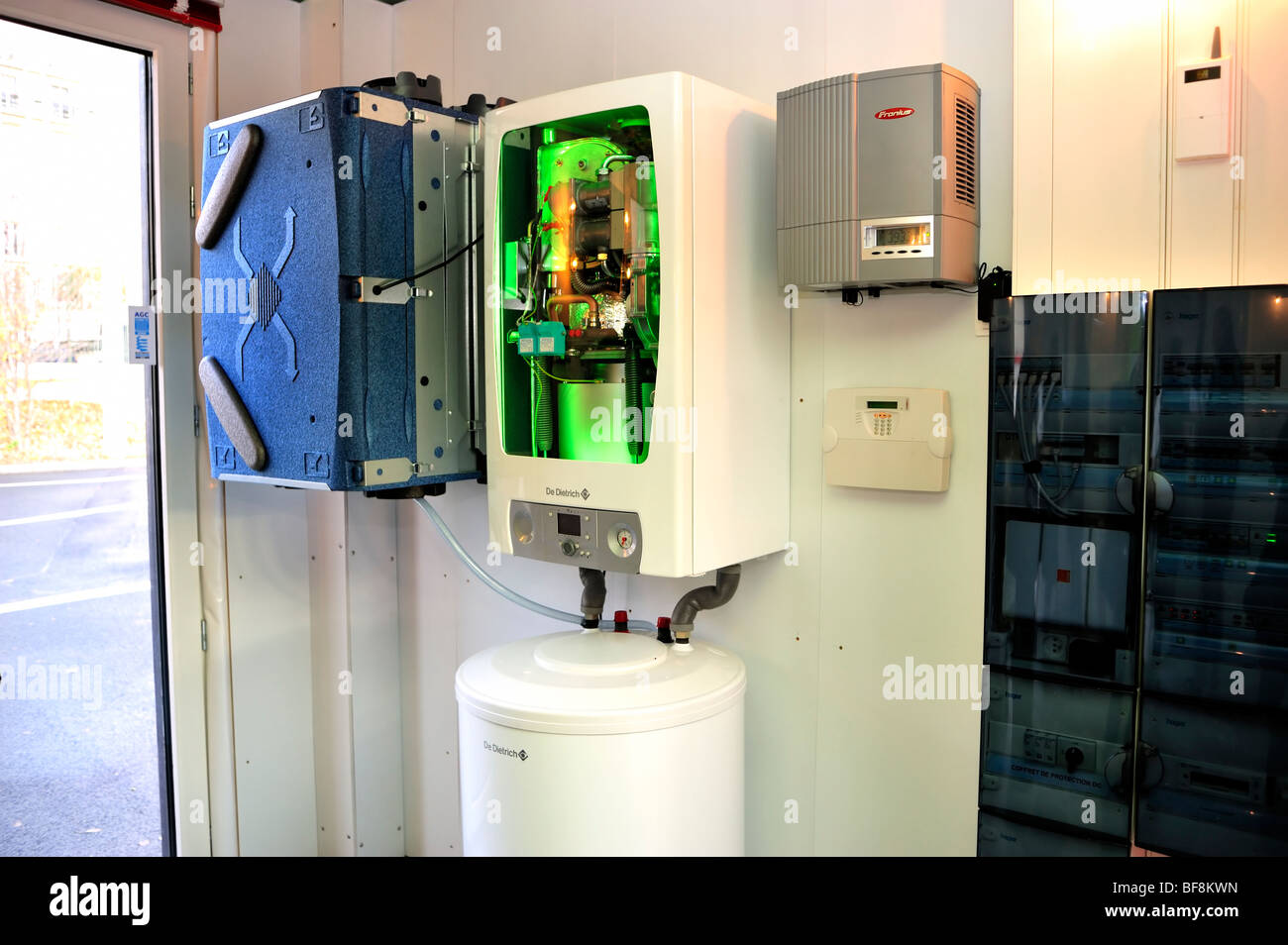 Home improvements, Boiler, Be-Green Eco House, Detail, Heating Installation, Boiler - Stock Image