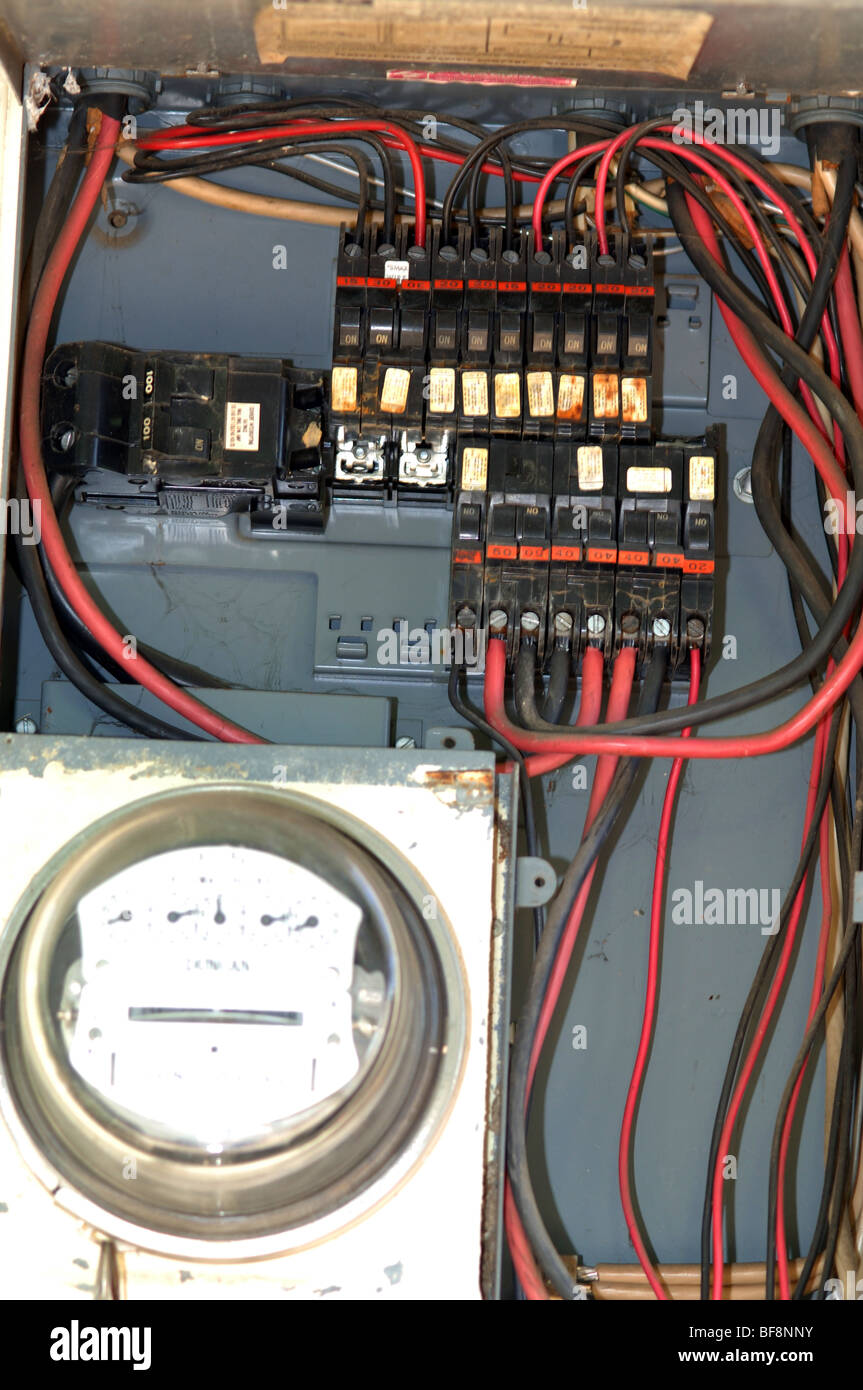 Circuit Breaker Panel Stock Photos Wiring View Of With The Cover Open And Safety Removed As