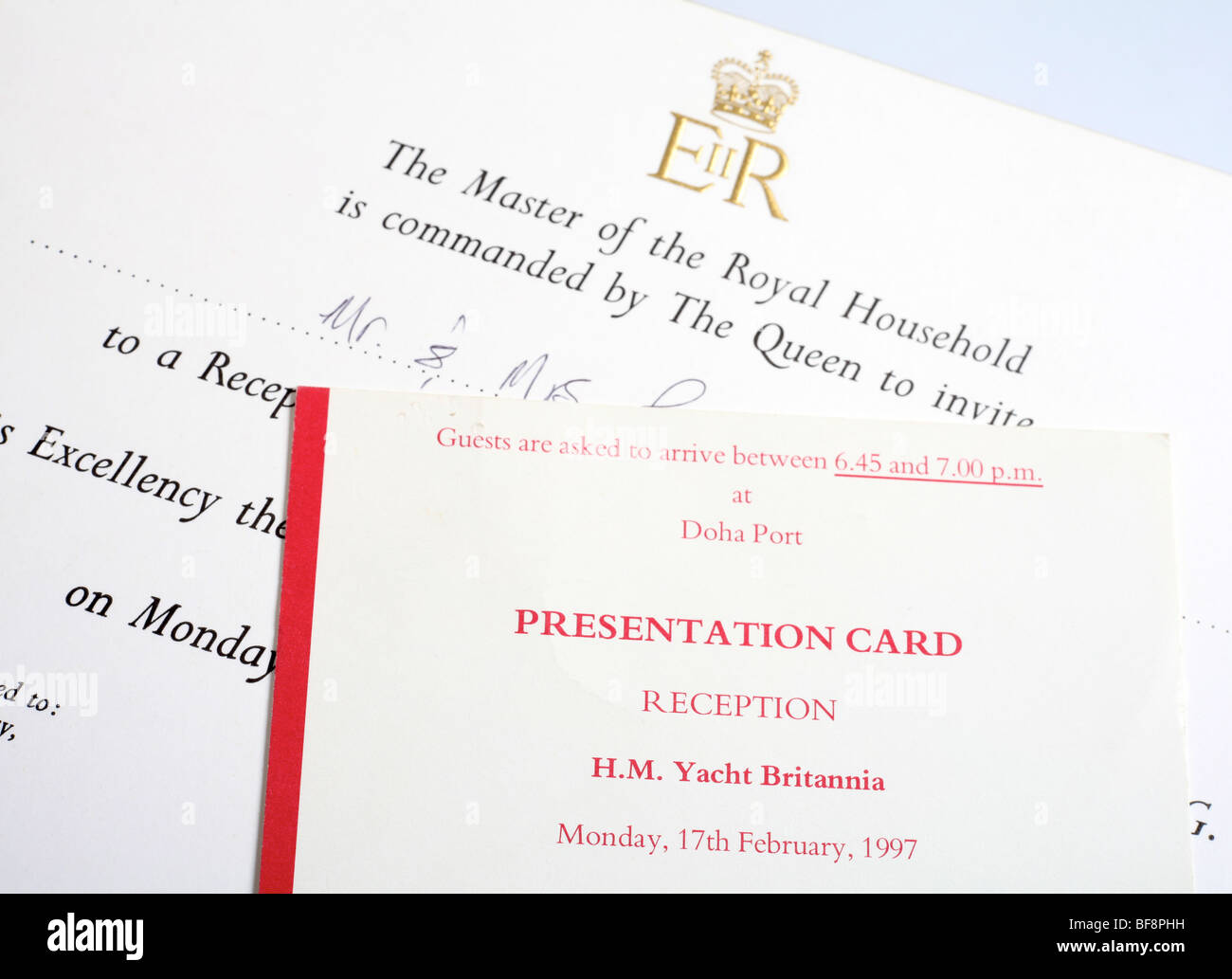 An invitation card to a reception on board the last british royal an invitation card to a reception on board the last british royal yacht hm yacht britannia at doha port qatar on february 17 stopboris Image collections