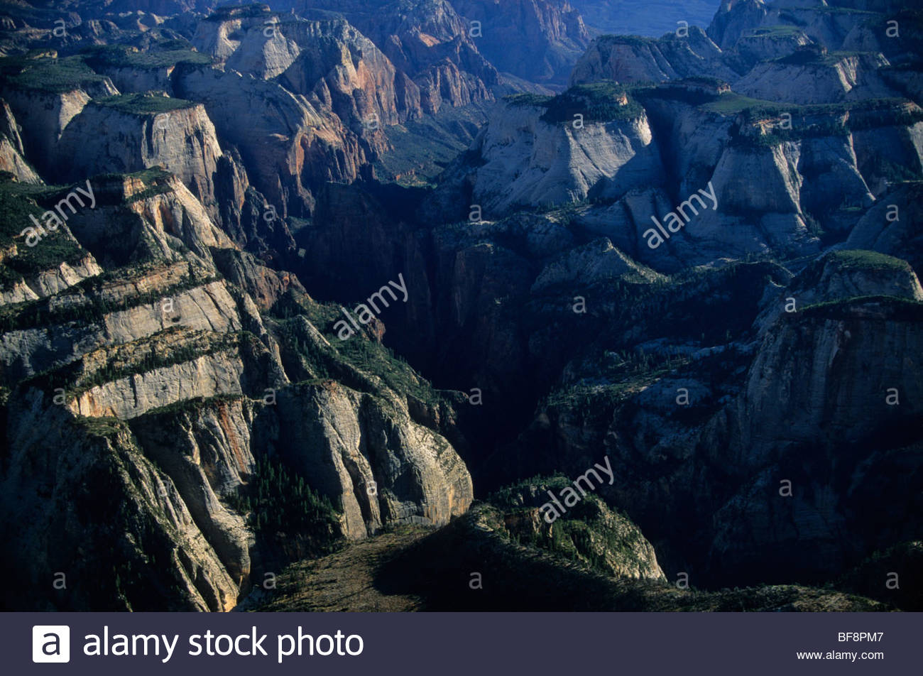 Mesas and canyons (aerial), Zion National Park, Utah Stock Photo