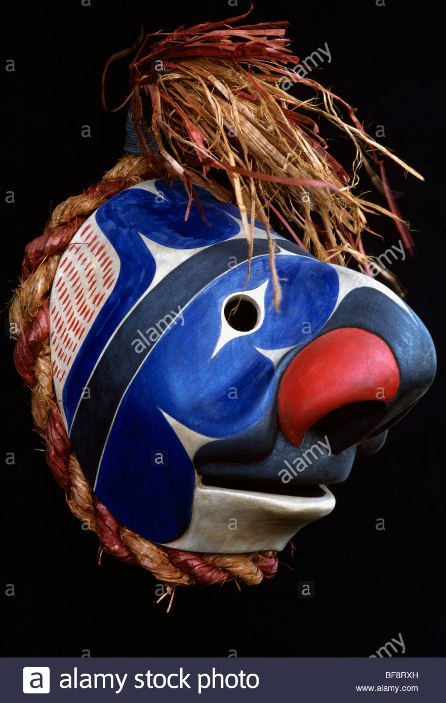 Noomutul or fool mask carved by Art Thompson, Nea Bay, British Columbia, Canada - Stock Image
