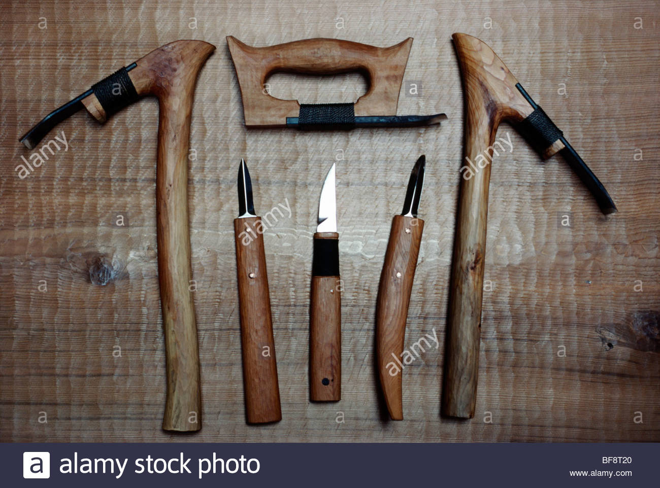 Woodcarving tools by Greg Blomberg, Lopez Island, British Columbia, Canada - Stock Image