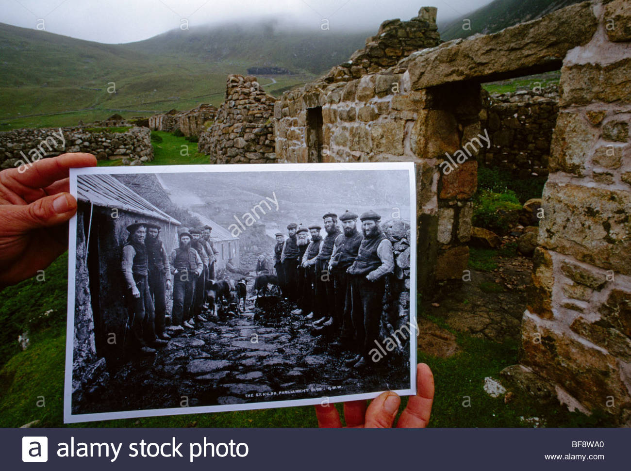 Deserted community which was completely dependent on puffins and other birds as food source, St. Kilda, Scotland - Stock Image