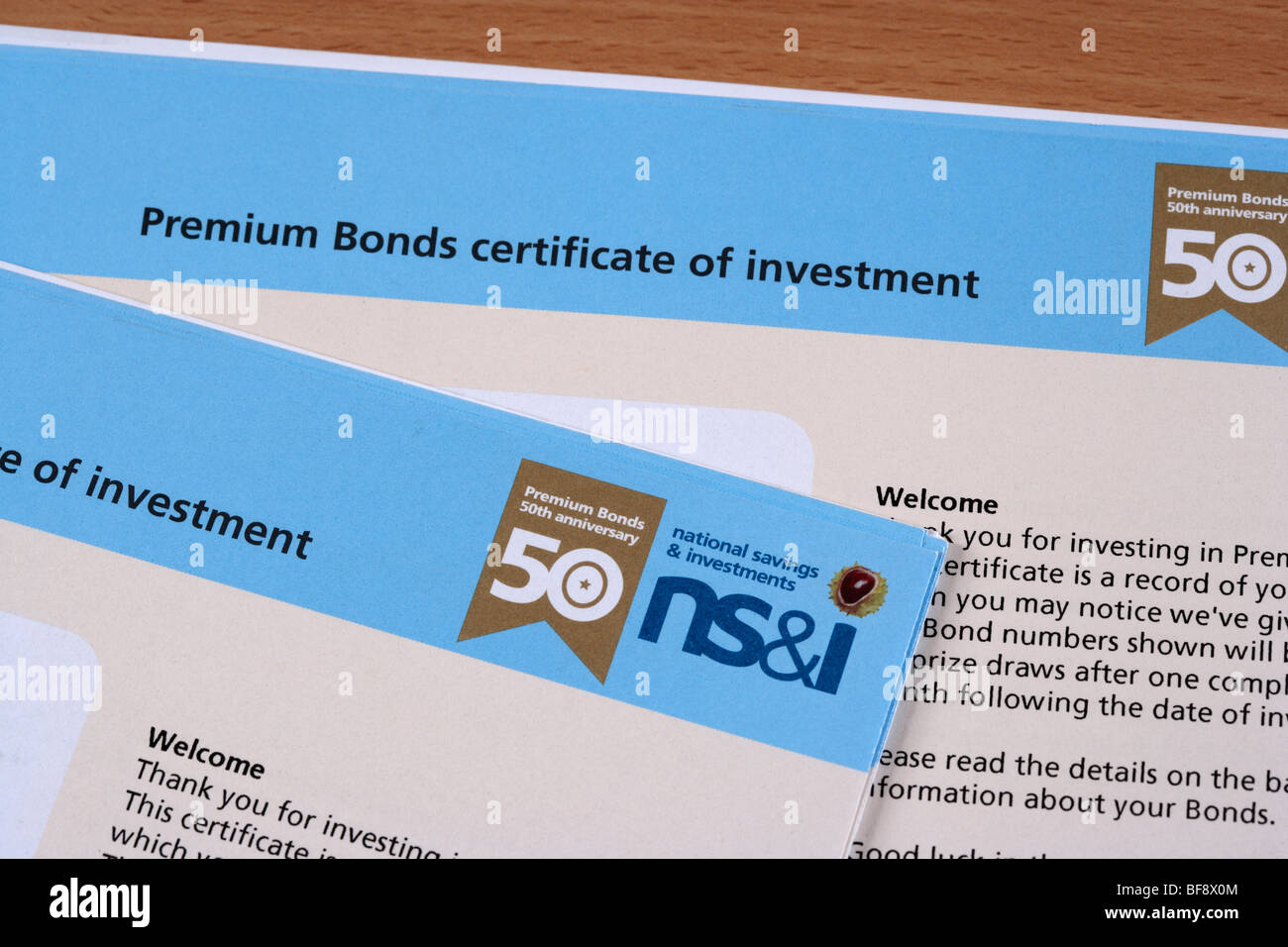 Premium Bond Certificates - Stock Image