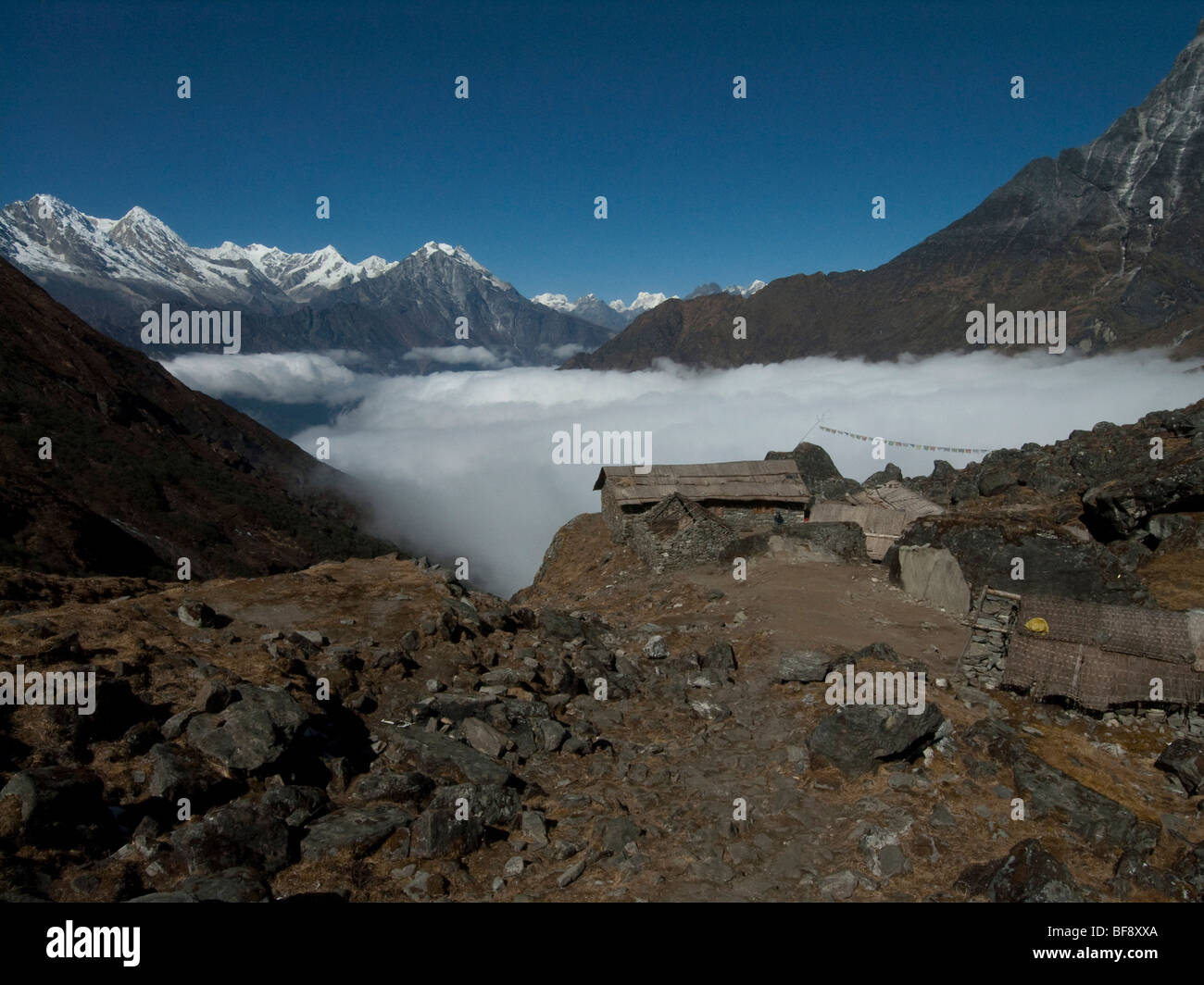 Mera National park. Small sherpa huts or mountain refuges on the paths along the mountain valleys. Nepal. Stock Photo