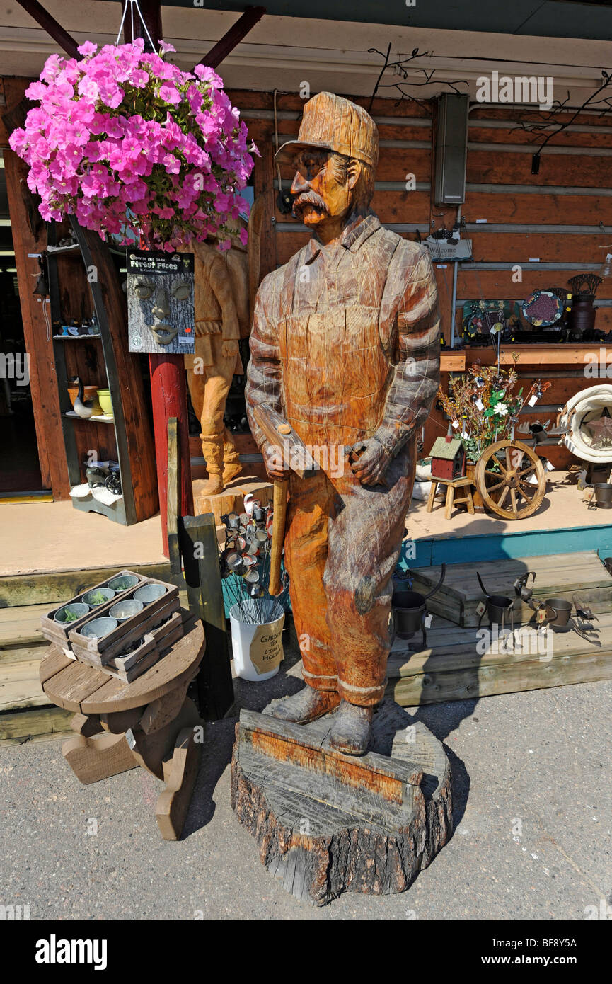 Statue Of Carve At Agawa Crafts And The Canadian Carver On