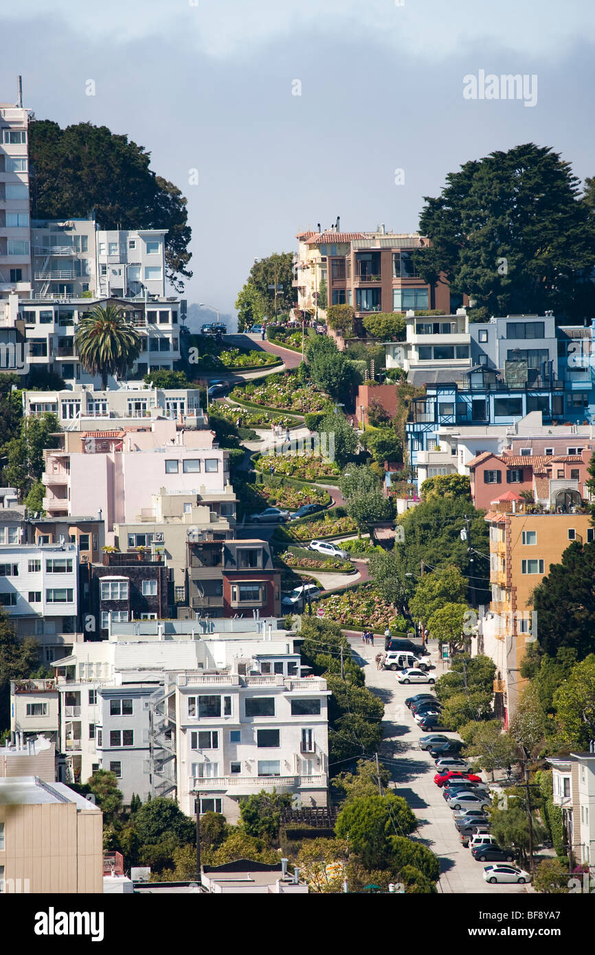 View to San Francisco with Lombard Street, California, USA - Stock Image