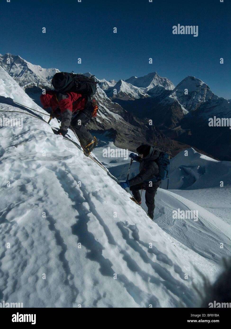 Mount Mera is the high peak in Mera National park, and is a popular climbing peak. Nepal. Stock Photo