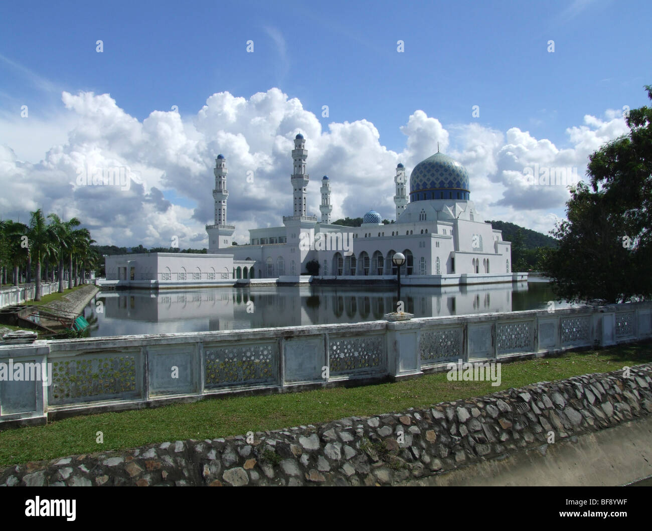 Kota Kinabalu City Mosque is an example of Islamic contemporary architecture. It houses three madrasahs and accommodates - Stock Image