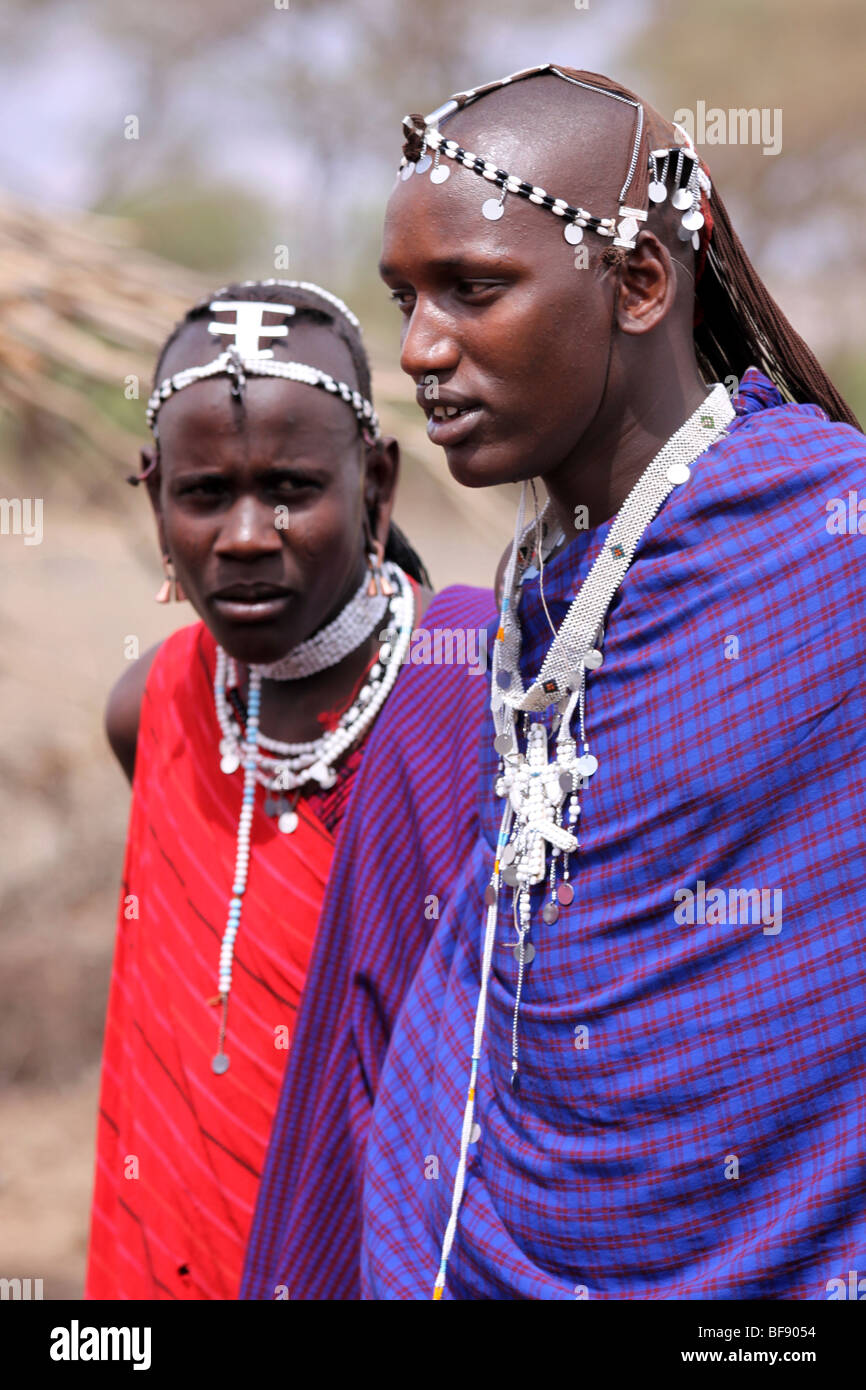 Portrait Of Young Masai Men In Engaruka Village, Rift Valley, Tanzania - Stock Image