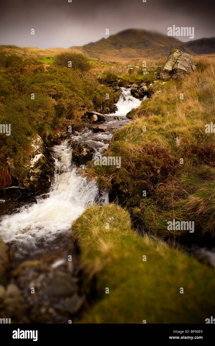 North Wales Snowdonia Croesor Autumn colourful stormy colorful landscape nature Stock Photo