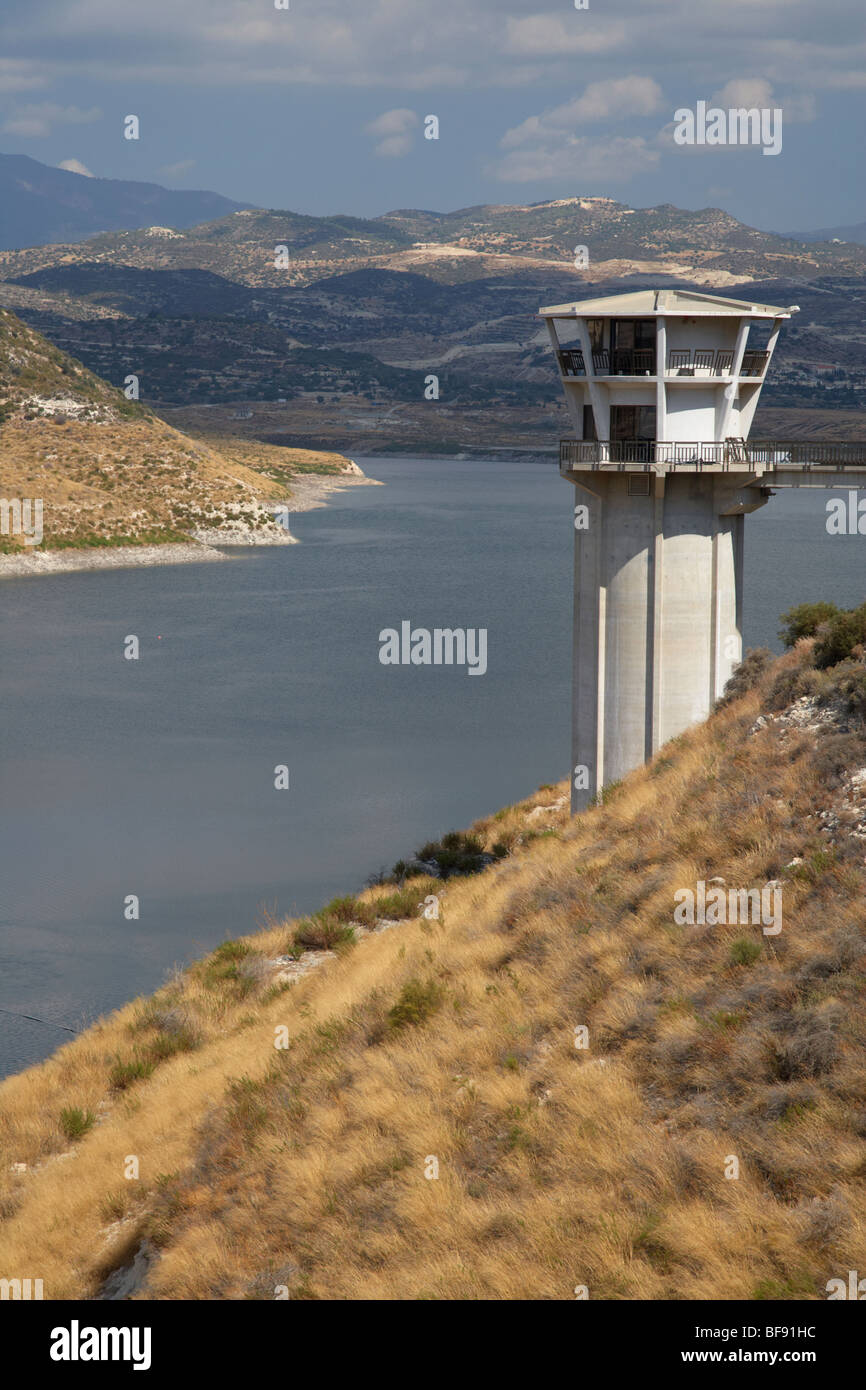 The Kouris Dam and reservoir in the republic of Cyprus europe - Stock Image