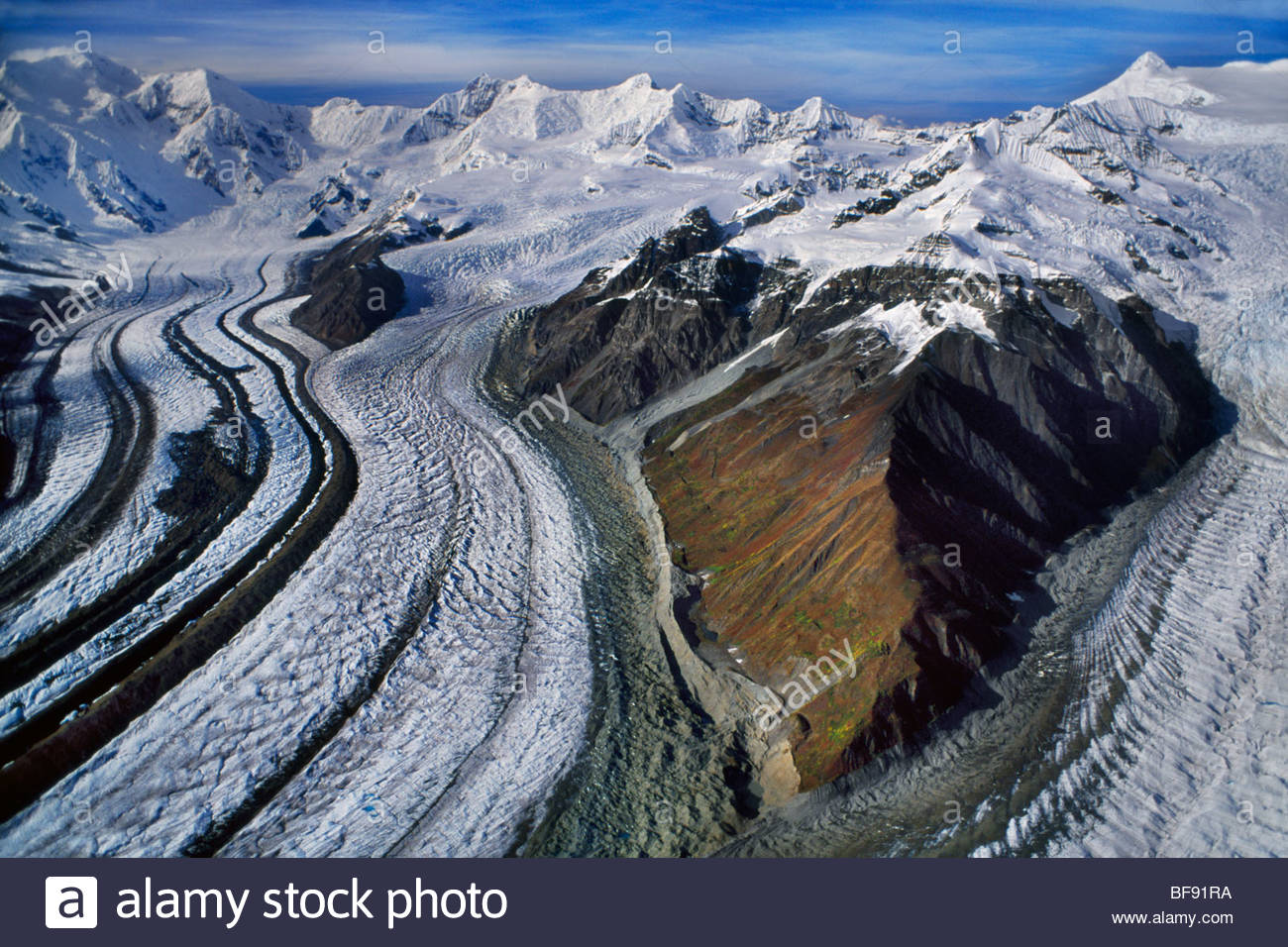 Kennicott Glacier, Mt. Blackburn (aerial), Wrangell St. Elias National Park, Alaska - Stock Image