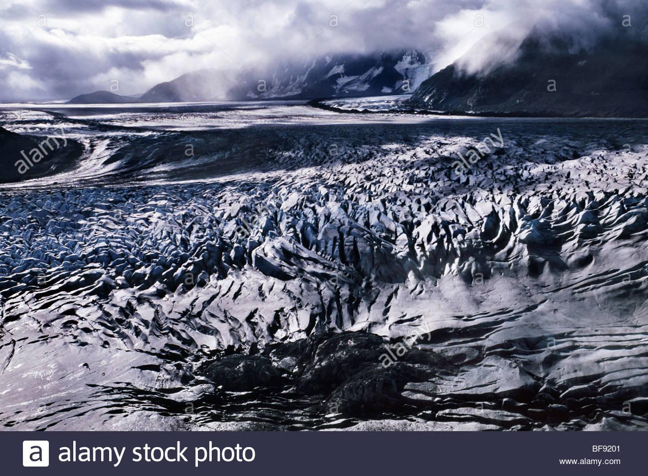 Tana Glacier (aerial), Wrangell St. Elias National Park, Alaska - Stock Image
