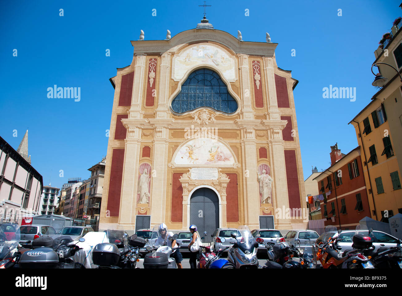 Church with richly painted facade, Genoa, Italy - Stock Image