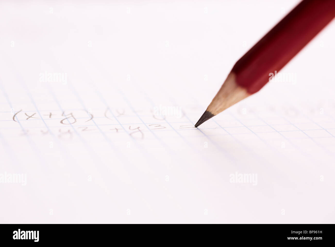 selective focus on center of photo, writing part of pen - Stock Image