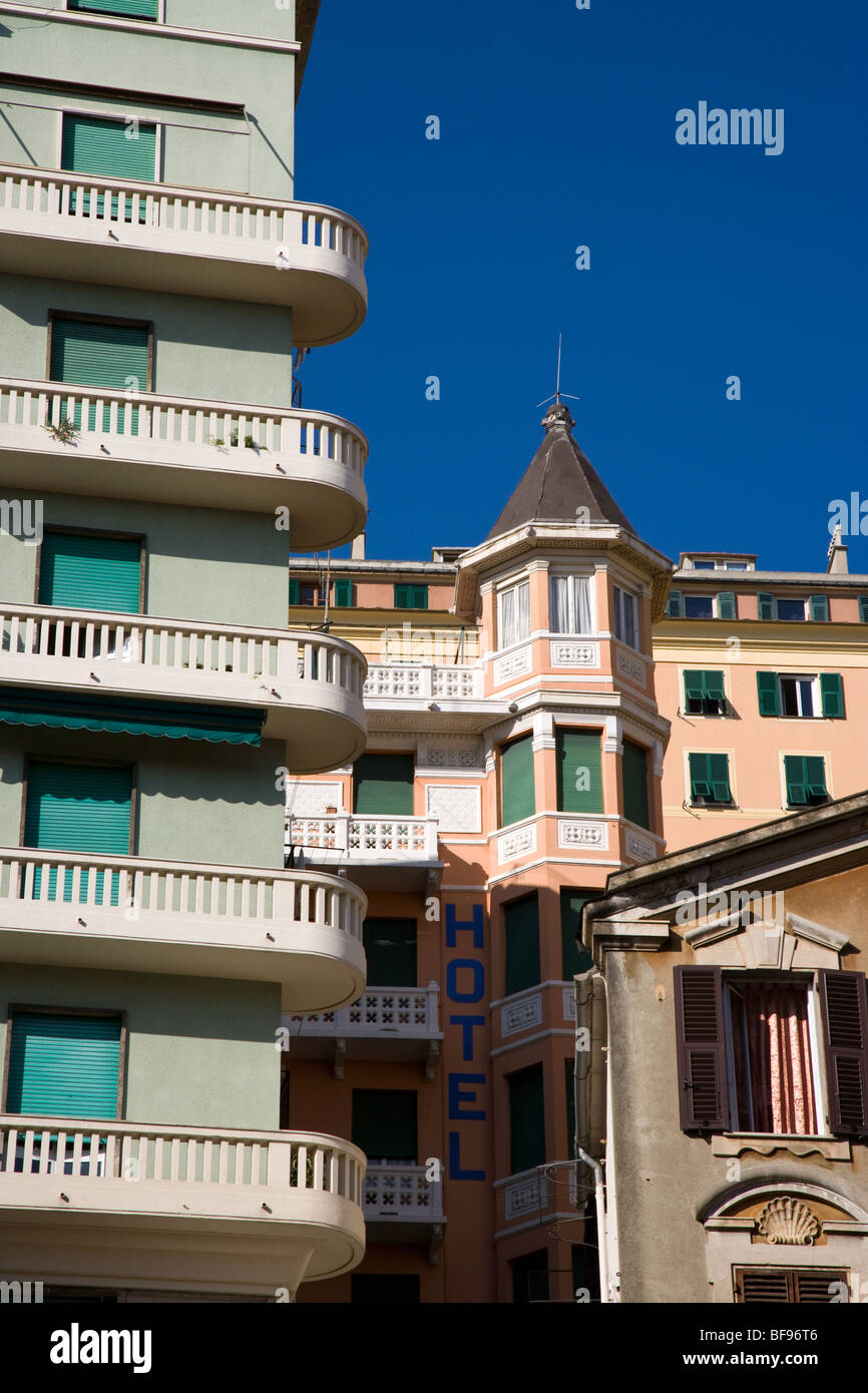 Buildings, balconies and architecture, Genoa, Italy - Stock Image